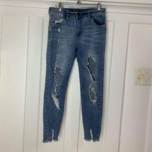 STSBlue Harper High Rise Crop Heavy Distress Jeans
